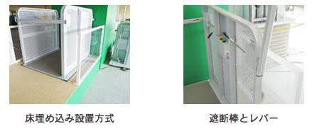 床埋め込み設置方式、遮断棒とレバーのイメージ