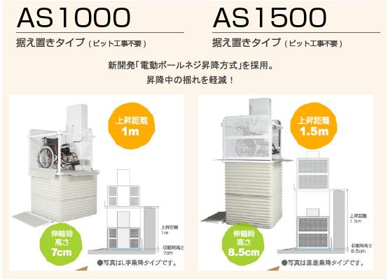 AS1000 据え置きタイプ(ピット工事不要) AS1500 据え置きタイプ(ピット工事不要)新開発「電動ボールネジ昇降方式」を採用。昇降中の揺れを軽減!